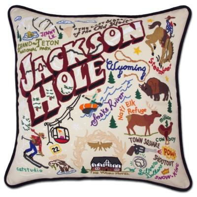 Jackson Hole Hand Embroidered CatStudio Pillow