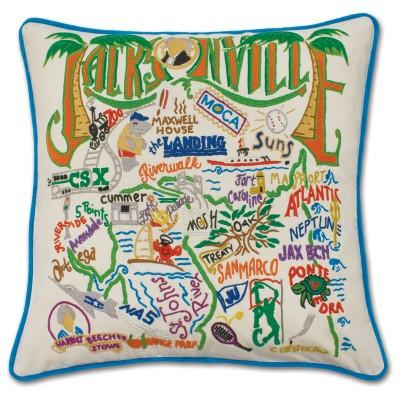 Jacksonville Hand Embroidered CatStudio Pillow