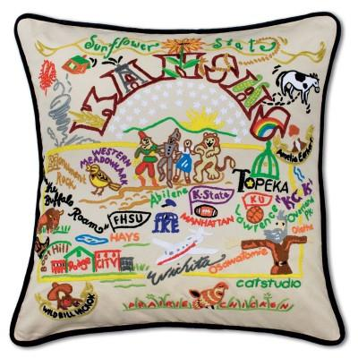 Kansas Hand Embroidered CatStudio Pillow