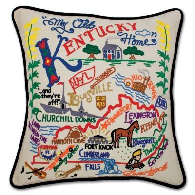 Kentucky Hand Embroidered CatStudio Pillow