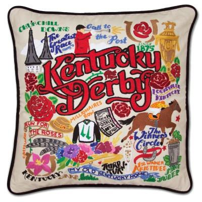 Kentucky Derby Hand Embroidered CatStudio Pillow