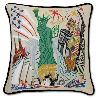 Lady Liberty Hand Embroidered CatStudio Pillow