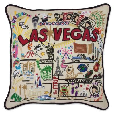 Las Vegas Hand Embroidered CatStudio Pillow