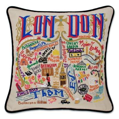 London Hand Embroidered CatStudio Pillow