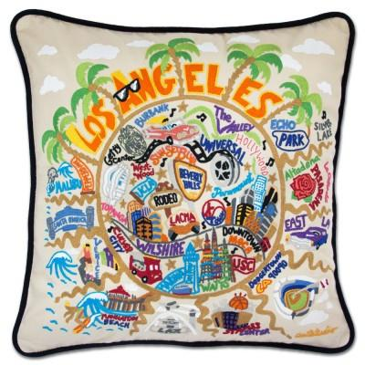 Los Angeles Hand Embroidered CatStudio Pillow