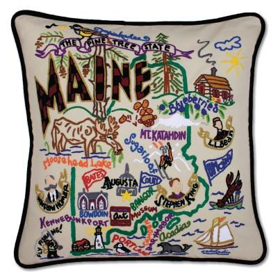 Maine Hand Embroidered CatStudio Pillow