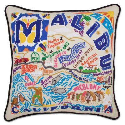 Malibu Hand Embroidered CatStudio Pillow