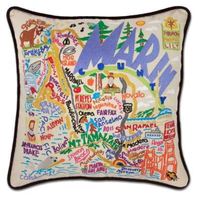 Marin County Hand Embroidered CatStudio Pillow