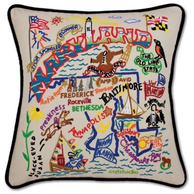 Maryland Hand Embroidered CatStudio Pillow