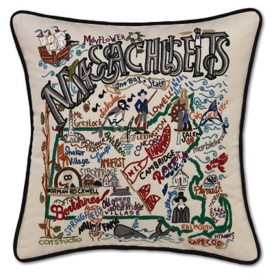 Massachusetts Hand Embroidered CatStudio Pillow
