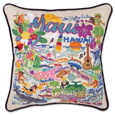 Maui Hand Embroidered CatStudio Pillow