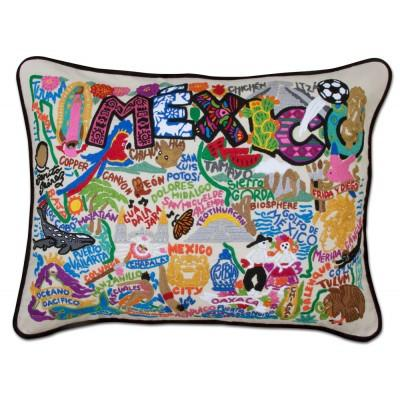Mexico Hand Embroidered CatStudio Pillow