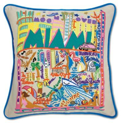 Miami Hand Embroidered CatStudio Pillow