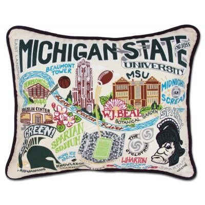 Michigan State Hand Embroidered CatStudio Pillow