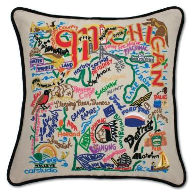 Michigan Hand Embroidered CatStudio Pillow