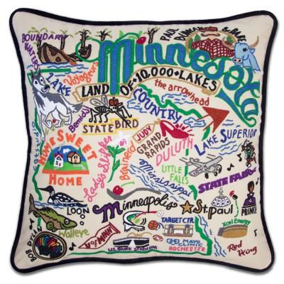 Minnesota Hand Embroidered CatStudio Pillow