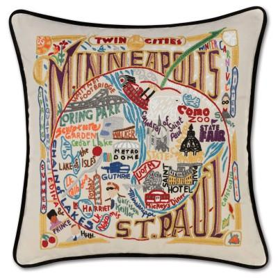 Minneapolis Saint Paul Hand Embroidered CatStudio Pillow