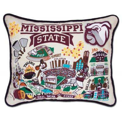 Mississippi State Hand Embroidered CatStudio Pillow