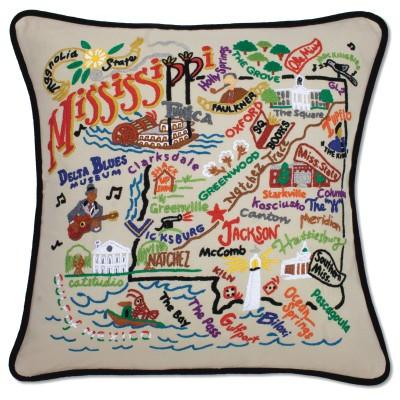 Mississippi Hand Embroidered CatStudio Pillow