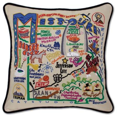 Missouri Hand Embroidered CatStudio Pillow