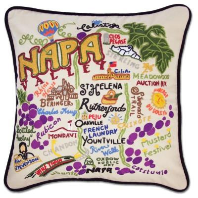 Napa Valley Hand Embroidered CatStudio Pillow