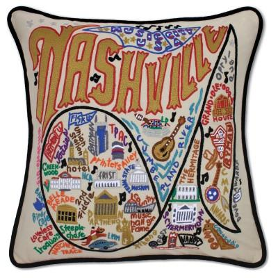Nashville Hand Embroidered CatStudio Pillow