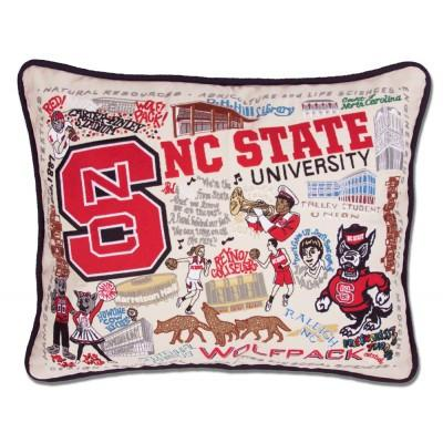 NC State Hand Embroidered CatStudio Pillow