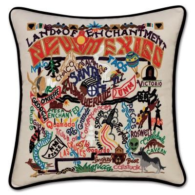New Mexico Hand Embroidered CatStudio Pillow
