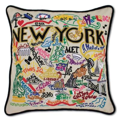 New York City Hand Embroidered CatStudio Pillow