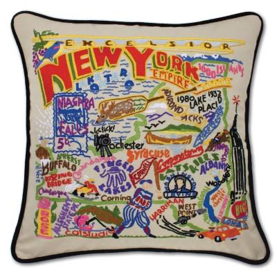 New York State Hand Embroidered CatStudio Pillow