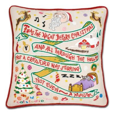 Night Before Christmas Hand Embroidered CatStudio Pillow