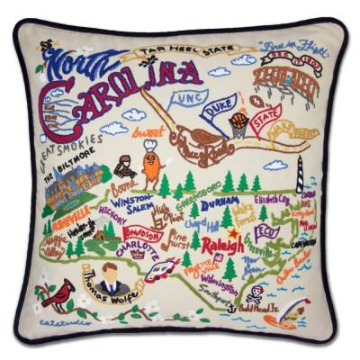 North Carolina Hand Embroidered CatStudio Pillow