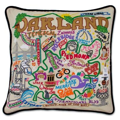 Oakland Hand Embroidered CatStudio Pillow