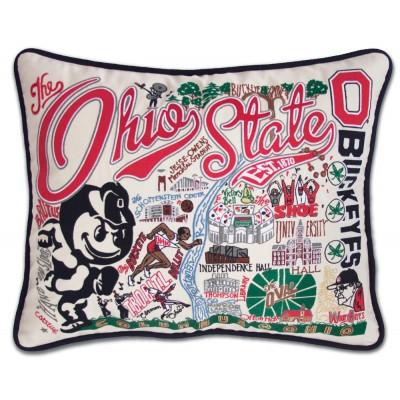 Ohio State Hand Embroidered CatStudio Pillow