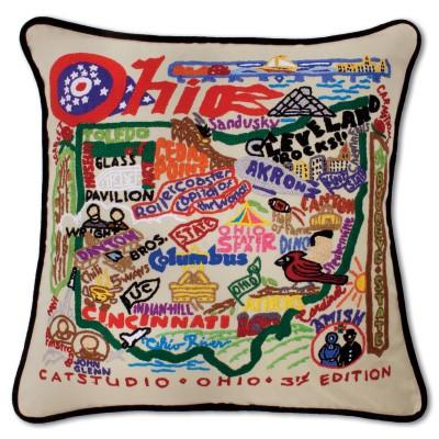 Ohio Hand Embroidered CatStudio Pillow