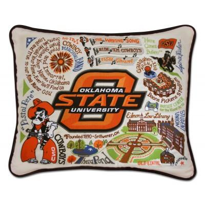 Oklahoma State Hand Embroidered CatStudio Pillow