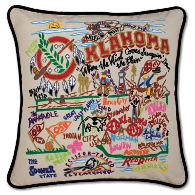 Oklahoma Hand Embroidered CatStudio Pillow