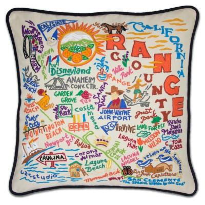Orange County Hand Embroidered CatStudio Pillow