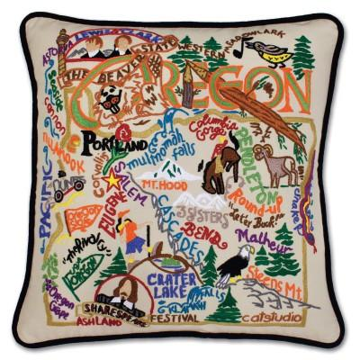 Oregon Hand Embroidered CatStudio Pillow