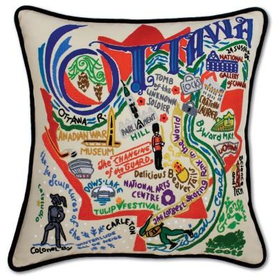 Ottawa Hand Embroidered CatStudio Pillow