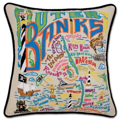 Outer Banks Hand Embroidered CatStudio Pillow