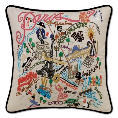Paris Hand Embroidered CatStudio Pillow