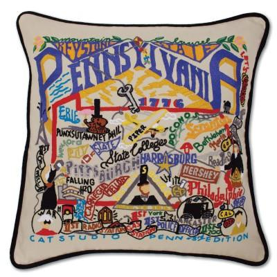 Pennsylvania Hand Embroidered CatStudio Pillow