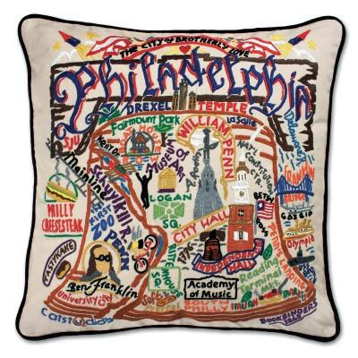 Philadelphia Hand Embroidered CatStudio Pillow