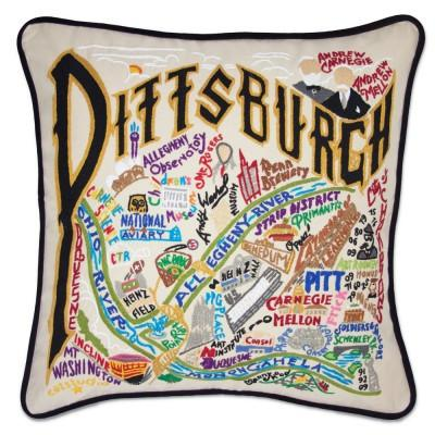 Pittsburgh Hand Embroidered CatStudio Pillow