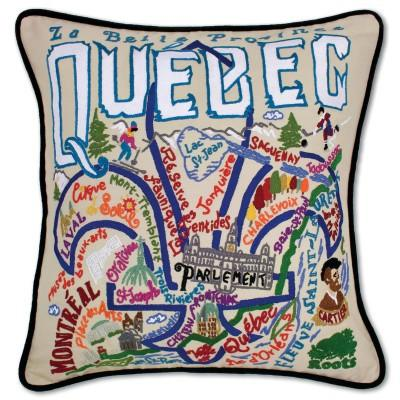 Quebec Hand Embroidered CatStudio Pillow