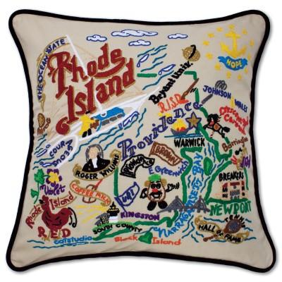Rhode Island Hand Embroidered CatStudio Pillow