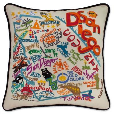 San Diego Hand Embroidered CatStudio Pillow
