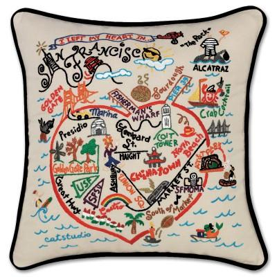 San Francisco Hand Embroidered CatStudio Pillow