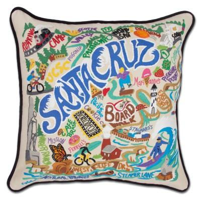 Santa Cruz Hand Embroidered CatStudio Pillow